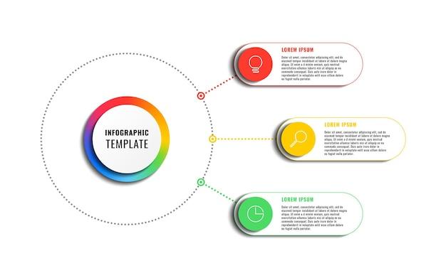 Infografika szablon z 3 okrągłymi elementami wielokolorowymi na białym tle nowoczesny proces biznesowy