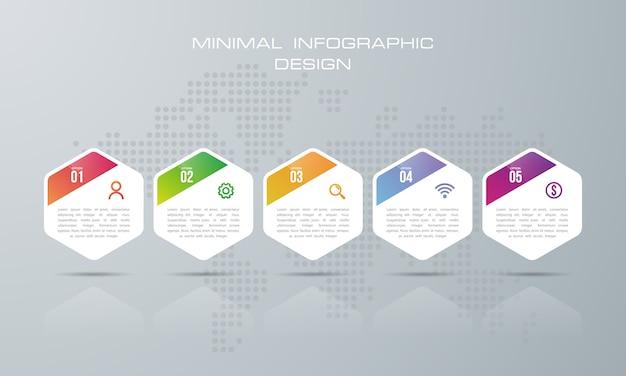 Infografika szablon z 5 opcjami, wektor infografiki projekt może być używany do układu przepływu pracy, - wektor