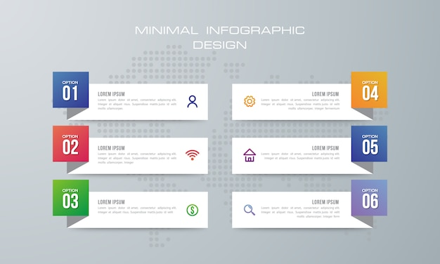Infografika szablon z 6 opcjami.