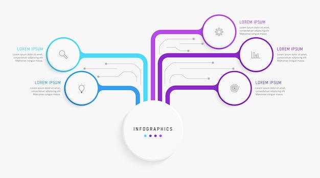 Infografika szablon z ikonami i 5 opcjami lub krokami.