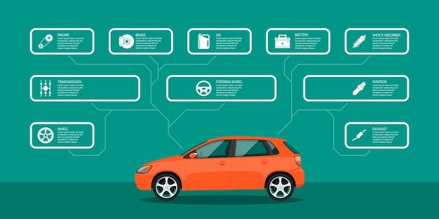 Infografika szablon z ikonami samochodów i części samochodowych, koncepcją serwisu i naprawy