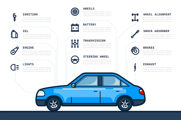 Infografika szablon z ikonami samochodów i części samochodowych