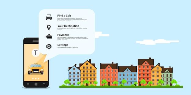 Infografika szablon z taksówką na ekranie telefonu komórkowego, ikony i ulica miasta na tle, koncepcja usługi taksówkowej, ilustracja styl