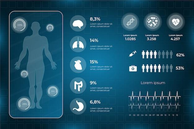 Infografika szablon zdrowia medycznego