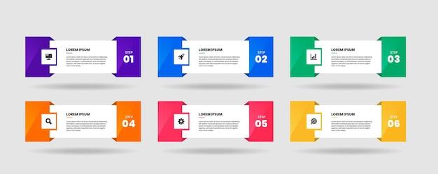 Infografika szablonów elementów z ikonami i 6 krokami