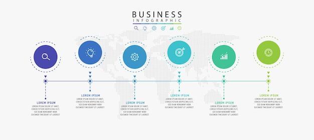 Infografika szablonu etykiety w koncepcji wektorowej z ikonami 6 opcji lub kroków infografika