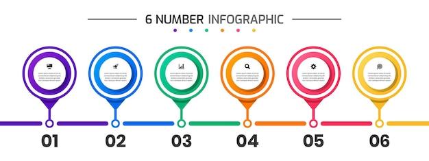 Infografika szablony projektów elementów z ikonami i 6 liczbami