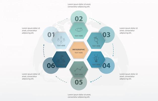 Infografika sześciokąt 6 opcji lub kroki i tło świata. kolor niebieski koncepcja.