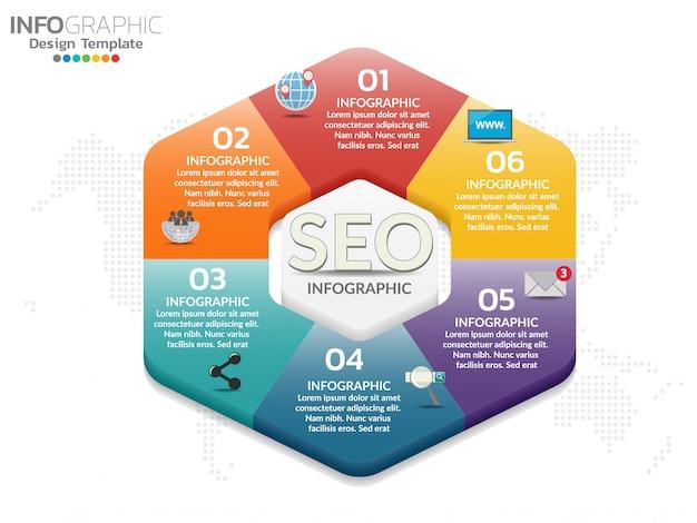 Infografika sześciokątnych form z kolorowymi ikonami może być używany dla biznesu, szablon.