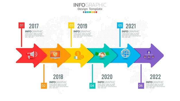 Infografika sześciostopniowy kolor elementu ze strzałką, diagram wykresu, koncepcja marketingu online biznesu.