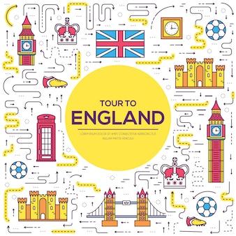 Infografika tradycyjnych etnicznych. krajowy przewodnik turystyczny po anglii, zawierający towary, miejsca i funkcje.