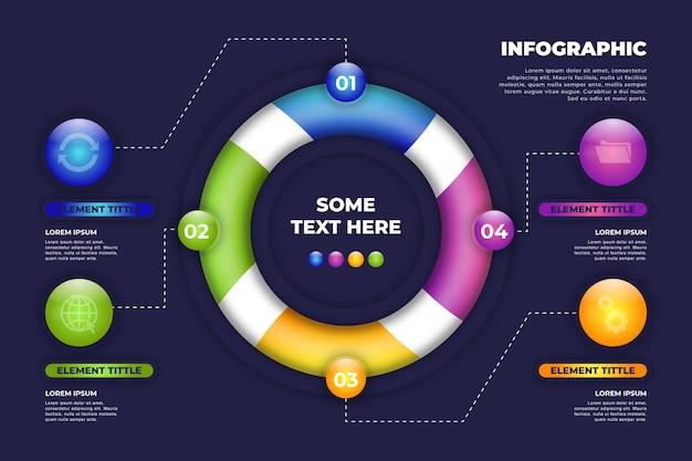 Infografika trójwymiarowy pierścień