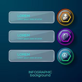 Infografika trzy liniowy interfejs biznesowy z piktogramami ikon i podpisami tekstowymi