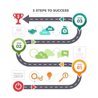 Infografika udanych kroków. biznes wykresy piramida poziomów osiągnięcia misji plansza elementy