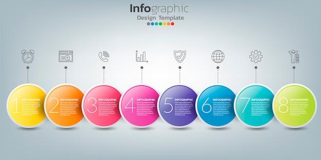 Infografika w koncepcji biznesowej z 8 opcjami, krokami lub procesami.