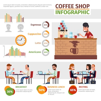 Infografika wektor kawiarni. przygotowanie, obiad i spotkanie, kafeteria i ilustracja infochart