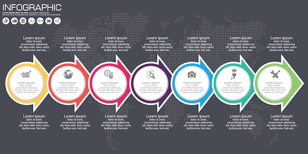 Infografika wektor osi czasu. tło mapy świata