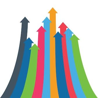 Infografika wektor strzałki strzałki wzrostu sukces sprzedaż wielkość wzrost wzrost demograficzny d uproszcz...