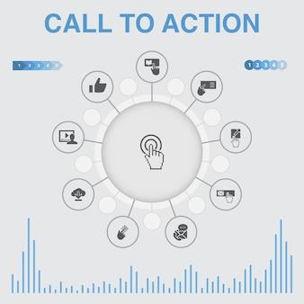 Infografika wezwania do działania z ikonami. zawiera takie ikony jak pobierz, kliknij tutaj, zapisz się, skontaktuj się z nami