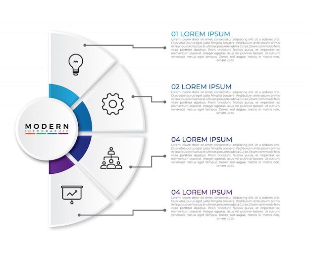 Infografika wizualizacja danych biznesowych w półkolu