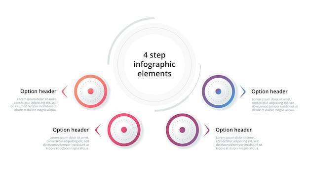 Infografika wykresu procesów biznesowych z 3 krokowymi kołami okrągłe elementy graficzne przepływu pracy korporacyjnej