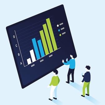 Infografika wykresu słupkowego z projektowaniem mężczyzn, ilustracją motywu informacyjnego i analitycznego