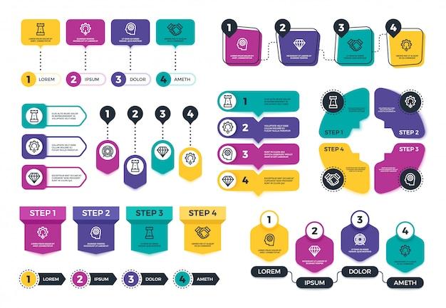 Infografika. wykresy i diagramy finansów przedsiębiorstw do prezentacji. menu planowania i elementy osi czasu