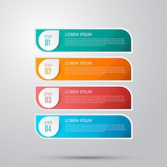 Infografika z 4 opcjami, krokami lub procesami