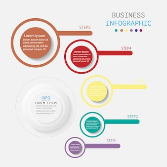 Infografika z 5 krokami lub opcjami, przepływem pracy, diagramem procesu