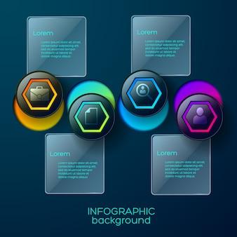 Infografika z czterema kolorowymi piktogramami biznesowymi w kształcie sześciokąta z okrągłymi otworami i opisami tekstowymi