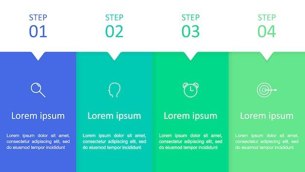 Infografika z czterema krokami