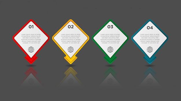 Infografika z efektem gradientu i cienia papieru 4 opcje. koncepcja biznesowa infografiki.