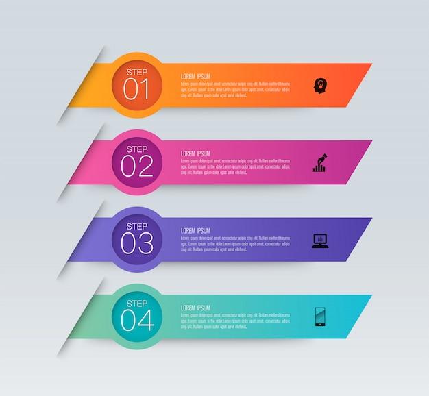 Infografika z krokami i opcjami