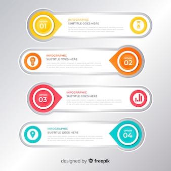 Infografika z krokiem i opcjami