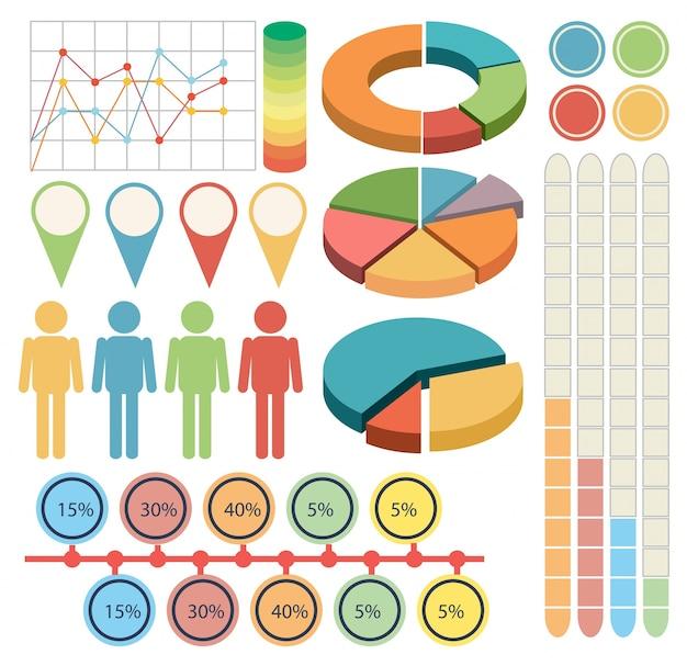 Infografika z ludźmi i wykresów w czterech kolorach