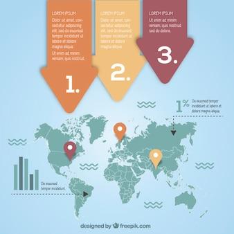 Infografika z mapą świata