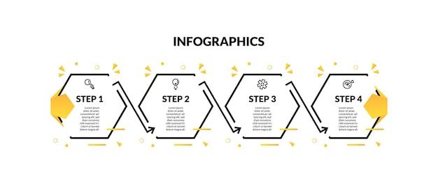 Infografika z sześciokątną linią minimalną i 4 krokami lub opcjami. idealny do prezentacji, diagramów procesów, przepływu pracy i banerów