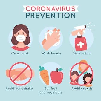 Infografika zapobiegania koronawirusów jeść zdrowo