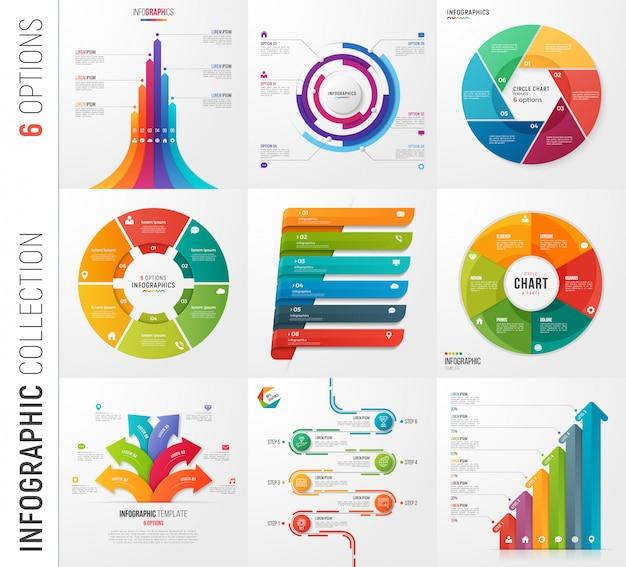 Infografika zbiór opcji szablonów wektorowych dla teraźniejszości