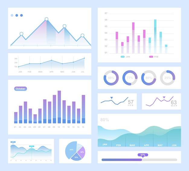 Infografika zestaw ilustracji kolor. wykresy kołowe informacyjne, digram, pakiet elementów graficznych
