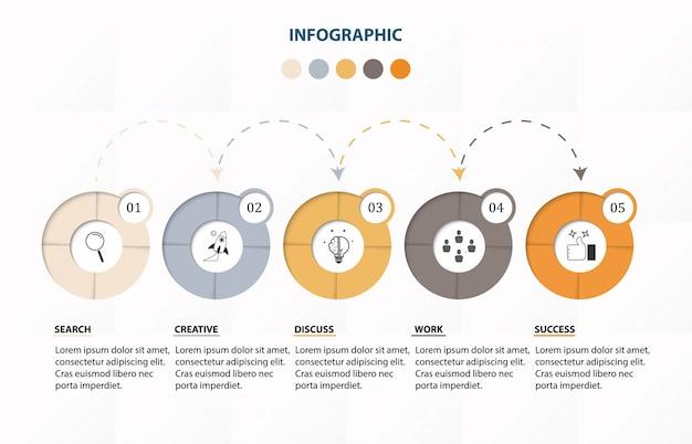 Infografiki 5 szablon opcji liczbowych.