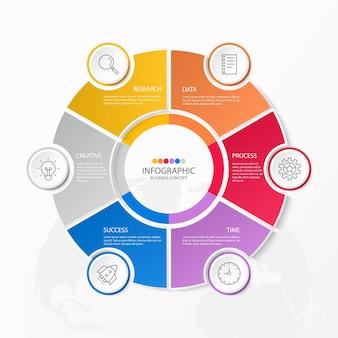 Infografiki 6 elementów kół i podstawowych kolorów dla obecnej koncepcji biznesowej.