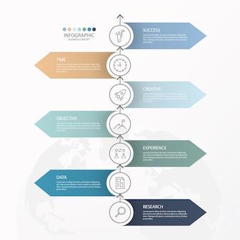 Infografiki 7 elementów kół i podstawowych kolorów dla obecnej koncepcji biznesowej. abstrakcyjne elementy, opcje, części lub procesy.