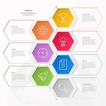 Infografiki 7 elementów kół i podstawowych kolorów dla obecnej koncepcji biznesowej.