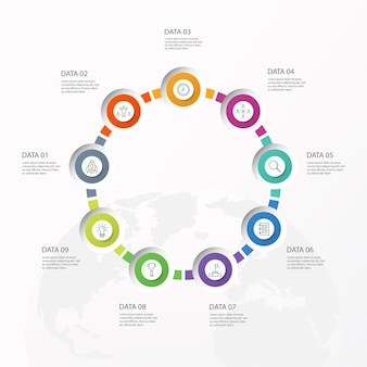 Infografiki 9 elementów kół i podstawowych kolorów dla obecnej koncepcji biznesowej. abstrakcyjne elementy, opcje, części lub procesy.