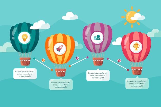 Infografiki balony na gorące powietrze płaska konstrukcja