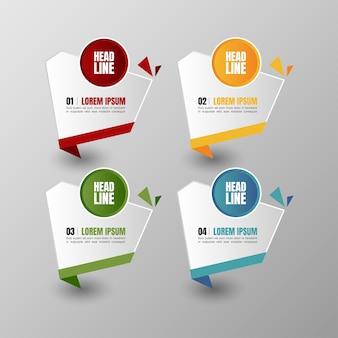 Infografiki banery szablon wektor multicolor zestaw i pole tekstowe dla układu prezentacji.