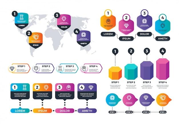 Infografiki biznesowe. elementy struktury statusu, wykresy grup docelowych. przetwarzanie mapy i diagramów wektor zestaw