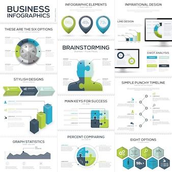 Infografiki biznesowe i elementy wektorowych wizualizacji danych