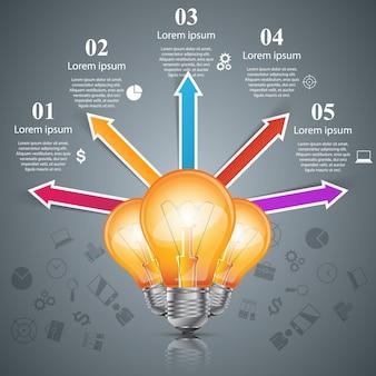 Infografiki biznesowe. ikona żarówki. ikona światła. ikona baterii.